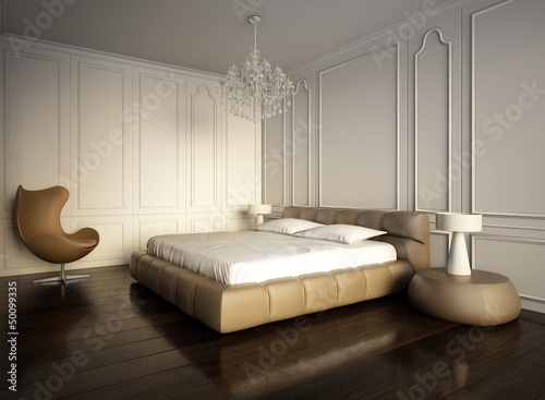 Papiers peints Retro Luxury minimal white bedroom with vintage dark wood floor