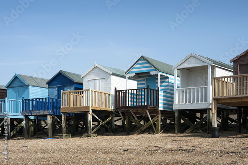 Photo  Colorful Beach huts at Southend on Sea, Essex, UK.