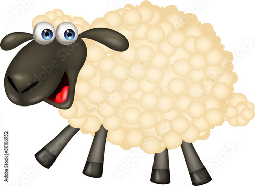 Poster Boerderij Cute sheep cartoon