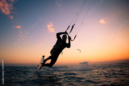Kite boarding. Kitesurf freestyle