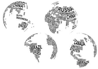fototapeta mapa świata napisy