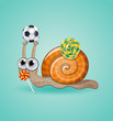 Isolated funny kid snail. Illustration 10 version
