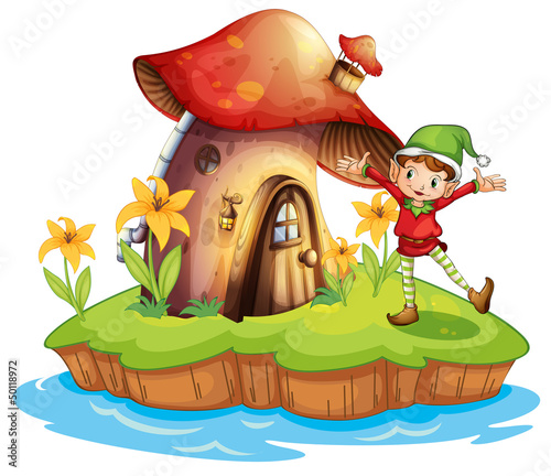 Poster Magic world A dwarf outside a mushroom house