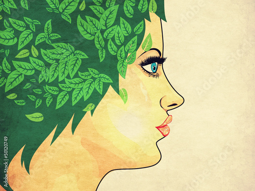 Fototapety, obrazy: Grunge girl with green hair