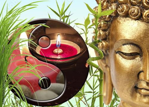 composition zen, Bouddha, Yin-yang, bambou - 50121075