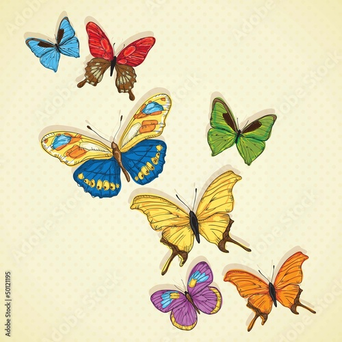 Cadres-photo bureau Papillons Butterfly Icons