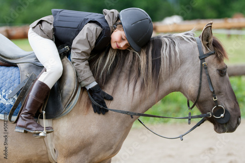 Poster Equitation Horse riding - lovely equestrian on a horse