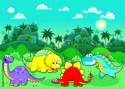 Spoed Foto op Canvas Dinosaurs Funny dinosaurs in the forest.