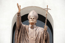 John Paul II Statue In Christian Church.