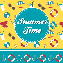 Summer Time Vector Greeting Card With Pattern