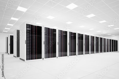 Staande foto Industrial geb. Data Center with long row angular
