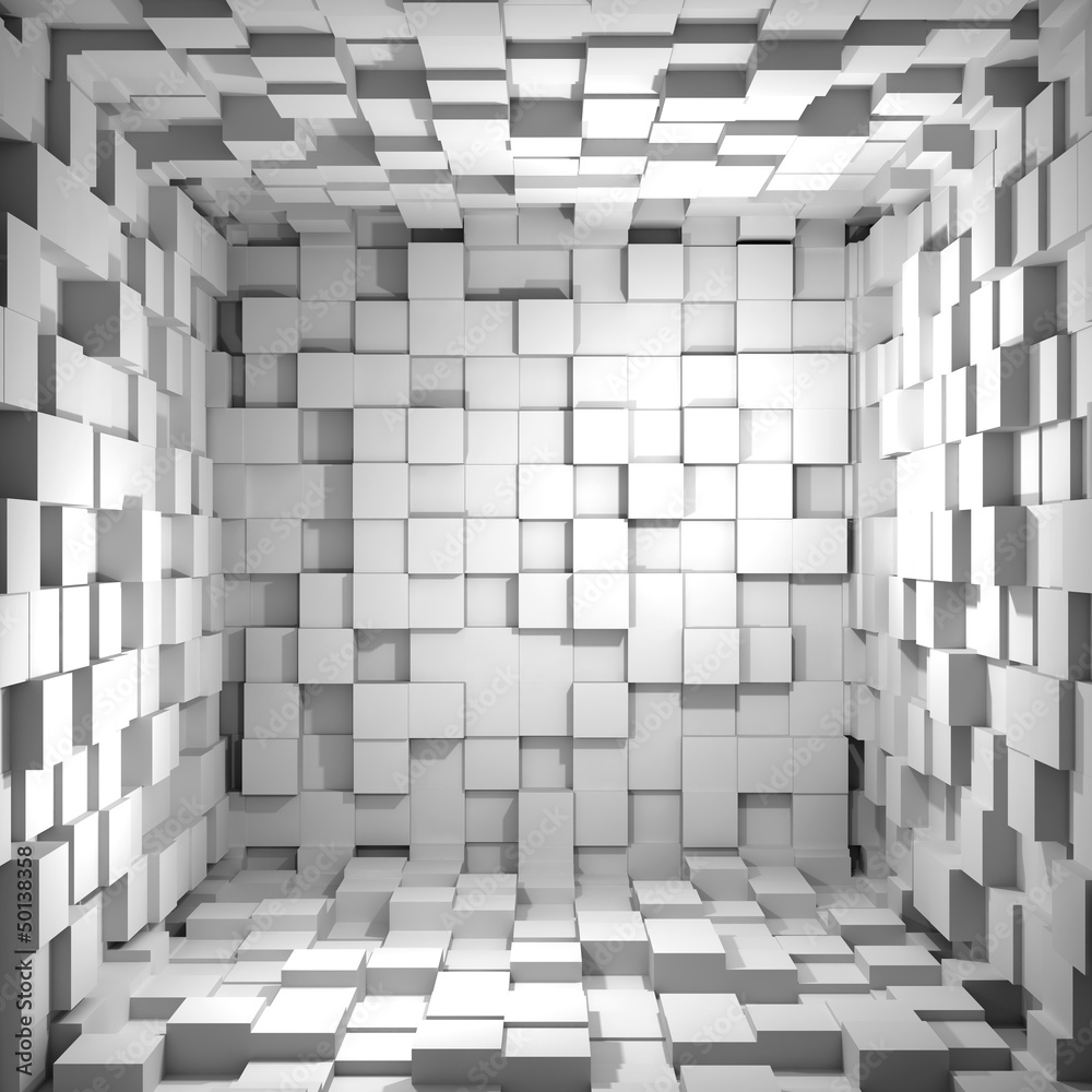 Fototapety, obrazy: Cube room 3d - background