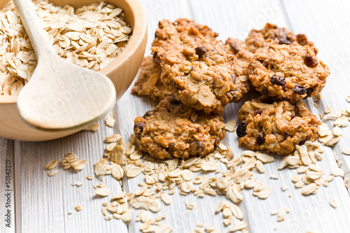 Photo  homemade cookie with oat flakes