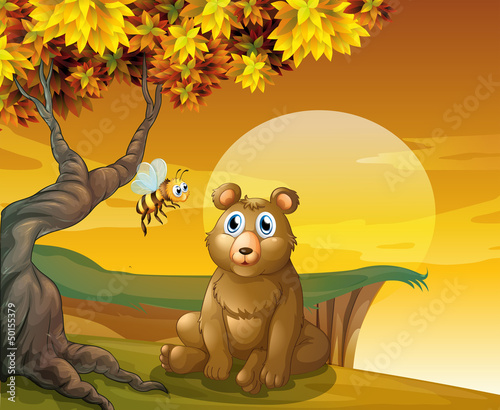 Foto op Aluminium Beren A brown bear sitting near the cliff