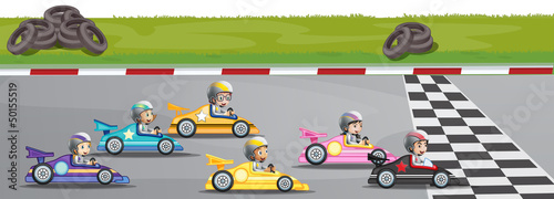 Tuinposter Cartoon cars Car racing competition