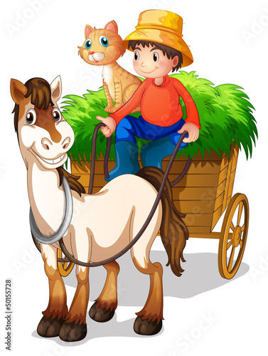 Photo sur Toile Ferme A young boy with a horse and a cat