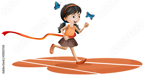 Staande foto Vlinders A girl running with two blue butterflies