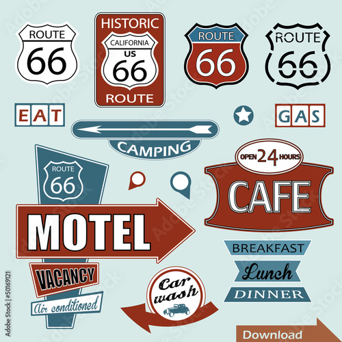 Photo  Route 66 Signs. Symbol and Sticker