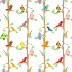 Fototapeta Color Birds seamless pattern