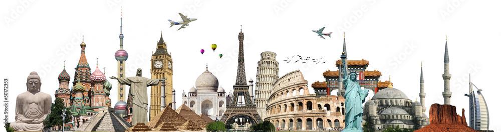 Fototapety, obrazy: Travel the world monuments concept