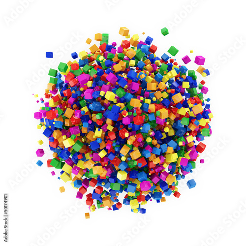 Abstrakcjonistyczna sfera Robić od Kolorowych sześcianów odizolowywających na bielu