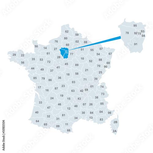 carte de france département Carte de France Vecteur Vectoriel Département   Buy this stock