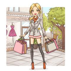 Naklejka Fashion girl at shopping