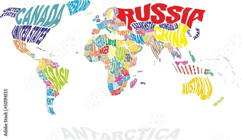 Autocollant pour porte Carte du monde world map with countries names