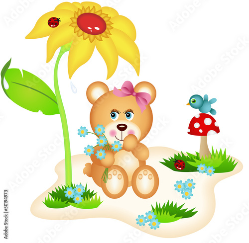Cadres-photo bureau Monde magique Teddy bear picking flowers