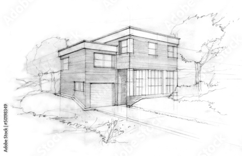 Sketch of a modern cubic house. First idea of an architect.