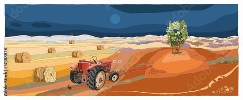 Fototapeta Pejzaż z traktorem obraz