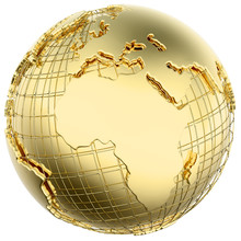Earth In Gold Metal Isolated (Africa/Europe)