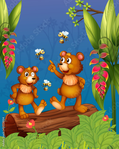 Wall Murals Bears The bees and bear at the forest