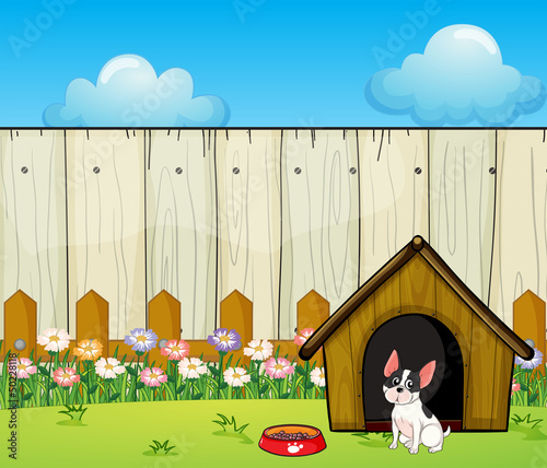 Foto op Canvas Honden A puppy in front of the doghouse inside the fence