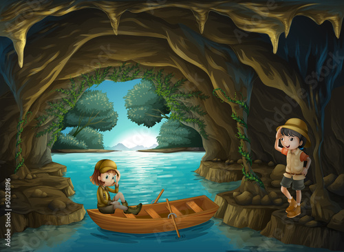 Canvas Prints River, lake The two brave girls at the cave