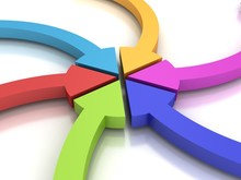 Colorful Curving Arrows Sweep Inward To Point At The Center