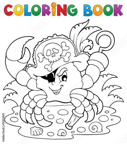 Spoed Foto op Canvas Doe het zelf Coloring book with pirate crab