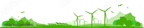 Poster Blanc Landschaft Wind Solar Energie