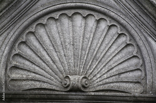 fan shaped marble architectural detail Canvas Print