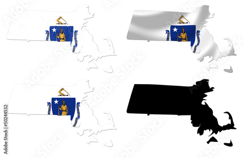 Us Map Photo Collage.Us Massachusetts State Flag Over Map Collage Buy This Stock