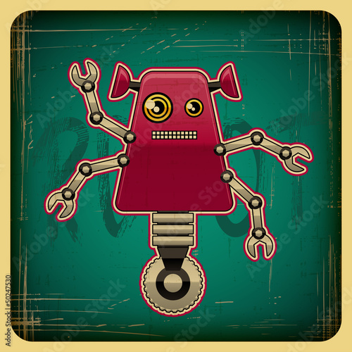 Ingelijste posters Robots Card in retro style with the robot.