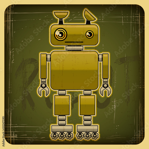 Canvas Prints Robots Card in retro style with the robot.