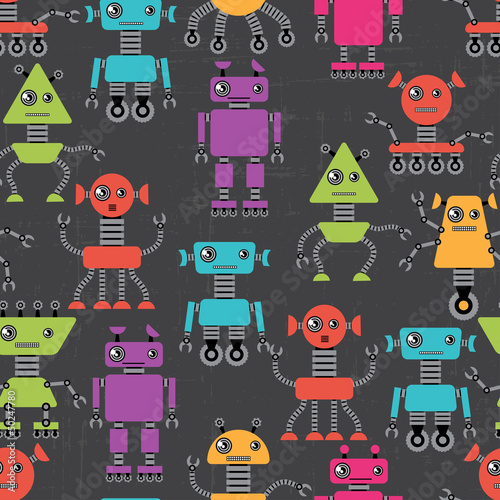 Poster Robots Cartoon robots seamless pattern.