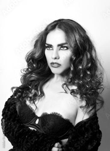 Foto op Plexiglas womenART Editorial Style Monochrome Fashion Image