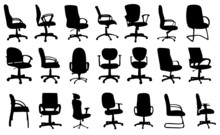 Office Chairs Silhouettes Vect...
