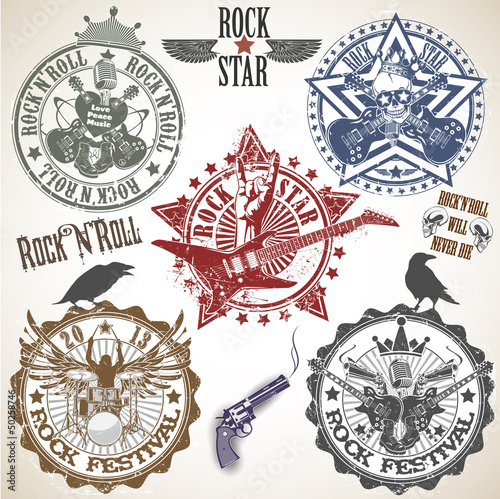 Valokuva  Set of stamps with symbols rock'n'roll
