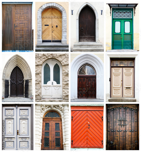Staande foto Tunesië Collage of old-fashioned multicolored doors