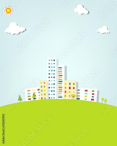 In de dag Lime groen urban landscape. vector applique.