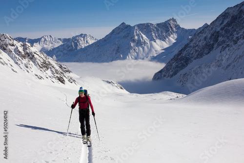 Aluminium Prints Mountaineering Skitour im Sellrain