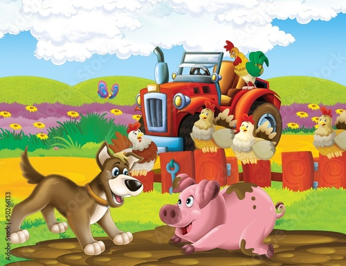 Photo sur Aluminium Ferme The life on the farm - illustration for the children